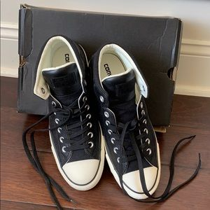 Black Leather High Top Tennis Shoes